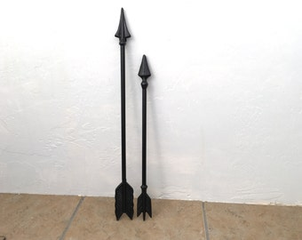 SET OF 2 ARROWS -Black Cast Iron Metal Wall Hanging - Custom Painted Tribal Themed Home Decor Wall Hanging - Native American Arrow