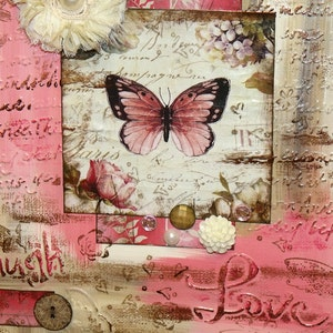 Live Laugh Love Mixed Media Canvas   Shabby Chic Butterfly Indie Home Decor  Wall Art Pink