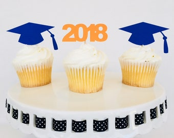 12 Graduation Cupcake Toppers - Cap and Gown - Congratulations Graduate - Graduation Party - 2018 - High School - College - Kindergarten