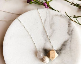 Lava necklace wood bead diffuser necklace essential oil jewelry dainty necklace Gifts for women minimalist jewelry simple necklace gemstone