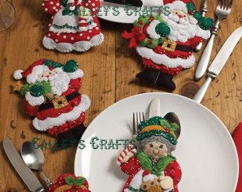 Bucilla Santa & Mrs. Claus ~ Felt Christmas Silverware Holder Kit #86310, 6 Pces DIY