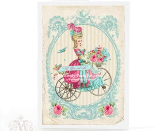 Marie Antoinette card, vintage bicycle, let them eat cake, birthday card, friendship card, blank all occasion