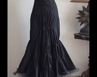 Modern Victorian draped bustle black dress with tulle ruffles and lace, ART DECO dress with roses bustier, origami goth dress, boho dress