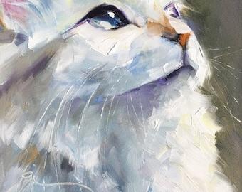 "White cat original oil painting one-of-a-kind white cat portrait ""Careless Whisper"""