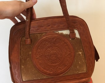 Vintage 1960s tooled leather handbag by Ideal