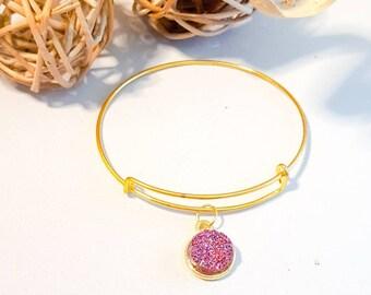 Cerise gold bangle, faux druzy , small gold adjustable bangle, sparkle bracelet, glitter look bangle,cerise stone, glittery,