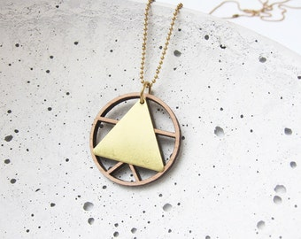 TRIANGLES wood - brass - long chain - sign-