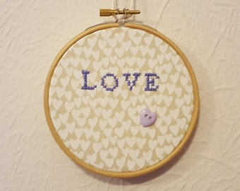 Love Hoop Art.  Love Embroidery. 4 inch Hoop Art. Cross stitch Quote. Valentines Gift.  Home Décor.