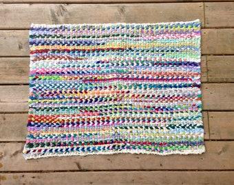Multicolour Rectangular Twined Rag Rug