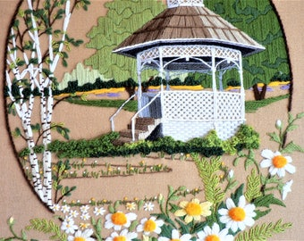 Vintage 80's Crewel Gazebo in Garden Framed Picture - Embroidered Daisy Garden with Gazebo