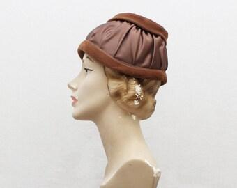 Mocha Satin and Velveteen Hat - 50s Pleated Satin Hat - Vintage 1950s Brown Helmet Style Hat