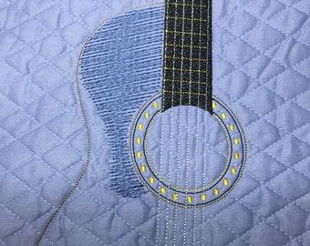 Guitar Blue Embroidery Design