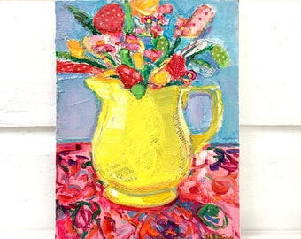 Pitcher Bouquet colorful mixed media still life painting by Polly Jones