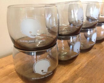 Set of 8 Cleveland Browns NFL Roly Poly Glasses
