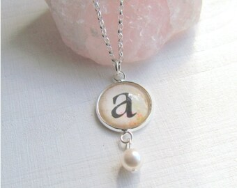 Initial Necklace, Personalized Necklace, Flower Girl Necklace, Bridesmaid Jewelry