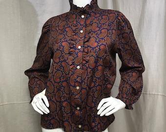 Ruffled Shirt Paisley Button Down Boho Edwardian Style Long Sleeve Medium Large 1980s Hipster