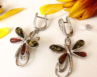 Earrings with amber, Silver earrings with amber, Silver earrings, Amber earrings, Amber Jewellery,earrings, dragonfly earrings, dragonfly