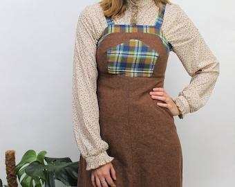 1970s Brown & Check Pinafore Dress Size UK 6, US 2, EU 34