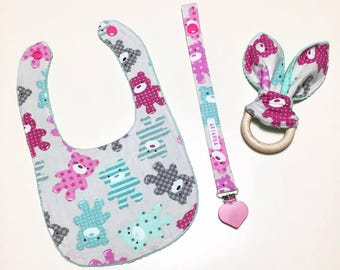 BABY bib SET, pacifier and Teether ring