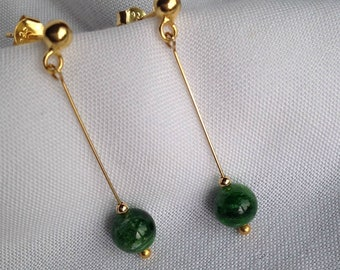 Chrome Diopside Gold-plated Sterling Silver Earrings
