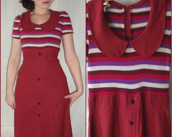 Vintage Mod Maxi Dress, Pink, Red, Purple Striped, Peter Pan Collar, '60s '70s, Small