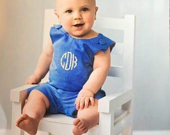 Blue White Check Shortall, boys, Made in the USA, boys jon jon, traditional, classic, boys, baby boys, seersucker, made in the USA, monogram