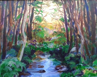 Mountain stream art, stream painting, Chester Creek at Three Forks Junction, Georgia, original art 16x16 by Shirley Lowe, mountain house art