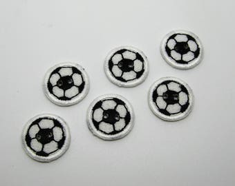 6 fabric buttons embroidered football pattern - ref 7 c