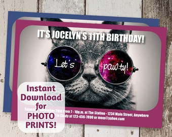 Cat Invitation - Cool Cat Birthday Party - Printable Kitty Instant Download Digital File Photo Print / Card Stock - Girl / Boy Tween Funny