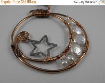 Mothers Day Sale Selene, Goddess of the Moon Copper, Pearl, Sterling Silver, And Silk Wire Wrapped necklace