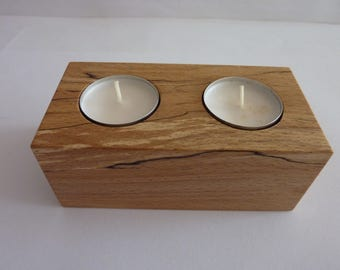 Tea Light Candle Holder,Two Candles,made from Spalted Beech Wood,Ideal Gift for all occasions