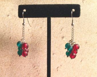 Christmas Sea Glass Earrings