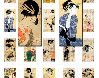 Japanese Geisha 1x2 Domino Digital Collage Sheet for pendants, scrapbook and mixed media projects, Instant Download