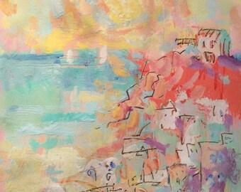 Paysage marin méditerranéen. sur les rivages de la Grèce, peinture coucher de soleil avec des bateaux à voiles, village de bord de la mer et l'eau bleue, par Russ Potak