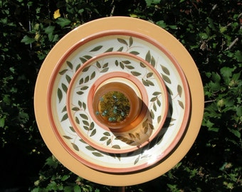 Deeply Layered Plate Flower, in Orange, Cream and Green, Moss Filled Cener, Close Out Sale