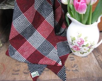 Sammy Scarf, Bias Cut Scarf, Wool Scarf, Checked Scarf, Vintage Scarf, Pure Wool, Plaid Scarf,  Mens Scarf, 1960s Scarf, Made In England