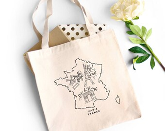 Paris Natural Color Tote Bag with Eiffel Tower Artwork and Moulin Rouge Print