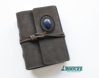 Leather journal with a Lapis Lazuli gemstone- blanc paper