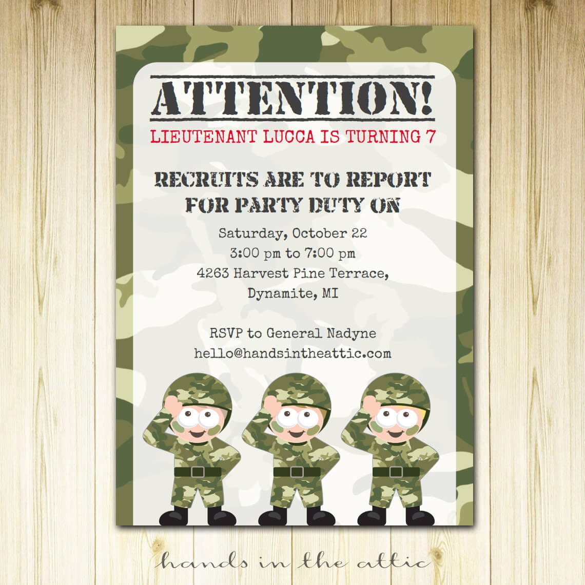 Camouflage party invitation template militaryalicious camouflage party invitation template stopboris Choice Image