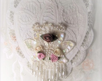 White Battenburg Lace HEART SACHET Cameo Pink Cottage Roses and Beading Wedding Bridal GIFT Topper
