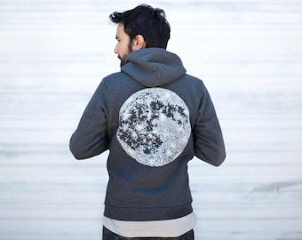 Celestial Moon Zip Up Hoodie, Wanderlust Fleece Sweatshirt Men, His or Hers Outdoor Clothing Gift, Unisex Zip Hoodie, Black Moon Sweatshirt