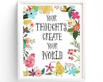 Your Thoughts Create Your World, Wall Art, Quote Prints, Printable, Art Prints, Printable Art, Instant Download Printable Art