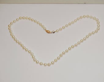 "14K YG White Individually Knotted 1/4"" Pearl 19"" Inch Long Necklace."
