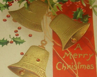 Nice Embossed Vintage/Antique Christmas Postcard (Bells & Holly)