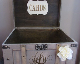 Vintage Wedding Card Box Extra Large, Rustic Wedding Card Box, Vintage Trunk Wedding Box with Custom Wedding Monogram C1C