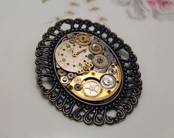 Steampunk brooch with gears & clock face, vintage style, unique piece