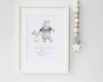 How do you spell love? Watercolour Pooh nursery toddler room print