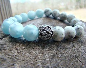 Stretch Bracelet, Gemstone Bracelet, Beaded Bracelet, Blue Bracelet, Jasper, Stone Bracelet, Rhinestone, Boho Chic Bracelet, Boho Jewelry