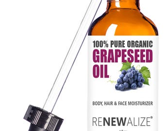 Organic Grape Seed Oil Skin Moisturizer | Cleansing Oil / Facial Oil / Face Oil / Facial Moisturizer / Face Moisturizer / Face Cleanser