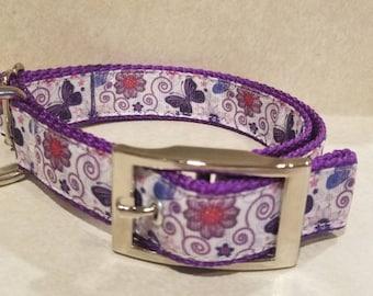 """1"""" Purple Butterflies Dog Collar"""